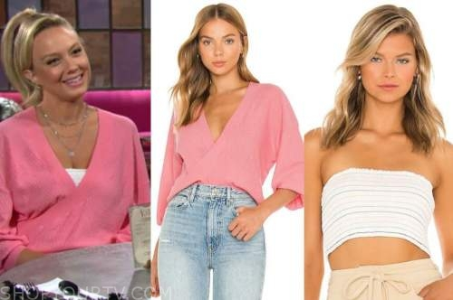 abby newman, melissa ordway, the young and the restless, pink sweater, white top