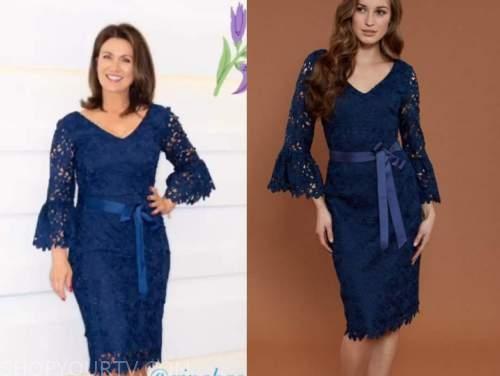 susanna reid, navy blue lace dress, good morning britain