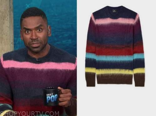 justin sylvester, E! news, daily pop, multicolor striped sweater