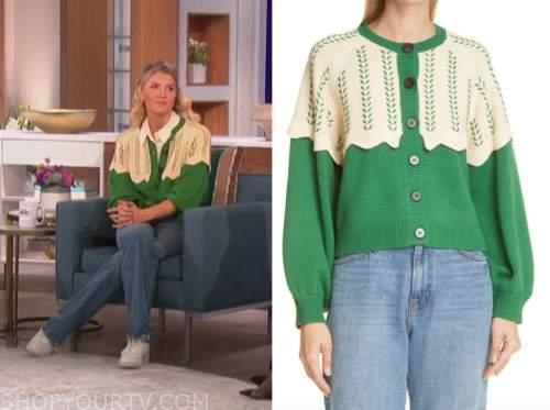 the talk, amanda kloots, green and ivory cardigan sweater