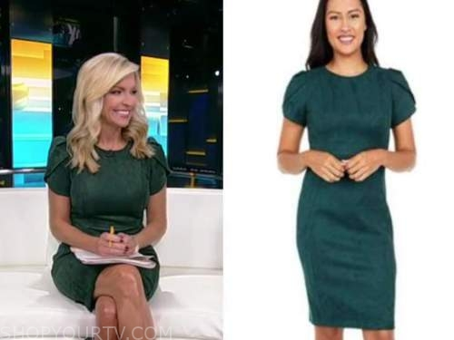 ainsley earhardt, green suede dress, fox and friends
