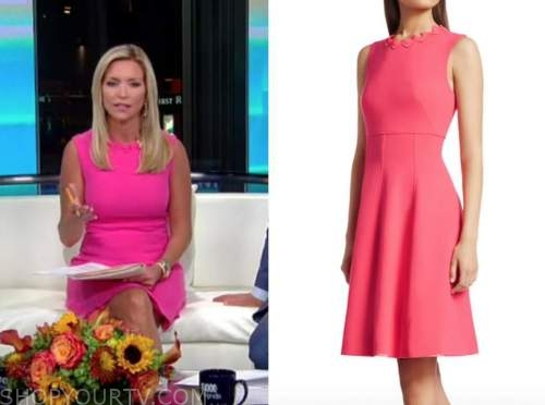ainsley earhardt, fox and friends, hot pink scallop dress