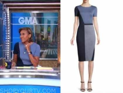 robin roberts, blue colorblock dress, good morning america