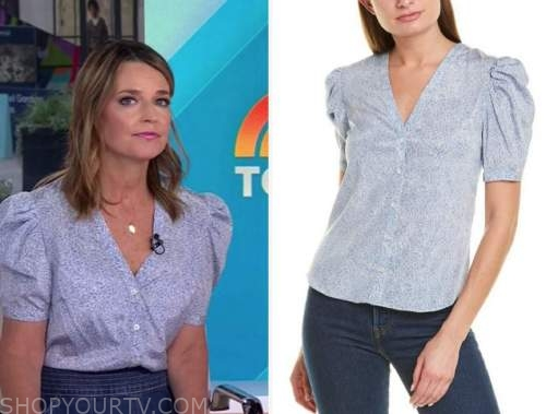 savannah guthrie, blue printed puff sleeve top, the today show