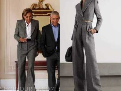 robin roberts, good morning america, grey wool jacket and pant suit