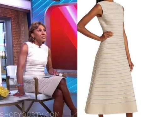 robin roberts, metallic striped midi dress, good morning america