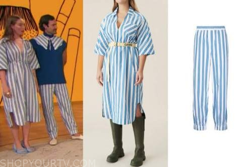 drew barrymore show, blue striped dress, blue striped pants, young emperors