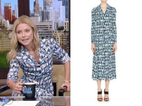 kelly ripa, live with kelly and ryan, blue striped shirt dress