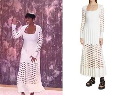 tamron hall, tamron hall show, white knit cutout pleated dress