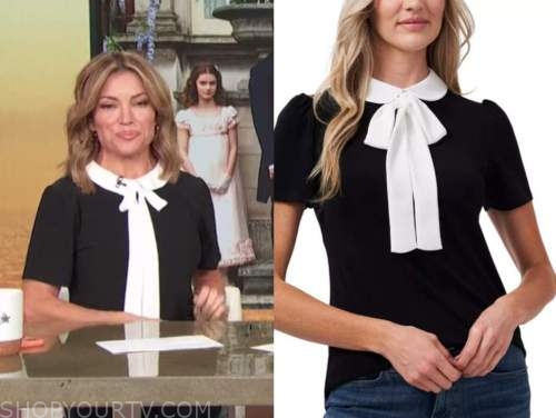 kit hoover, access daily, black and white collar bow top
