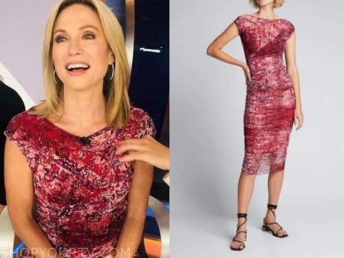 amy robach, good morning america, red printed top and skirt