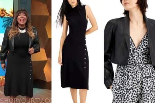 kym whitley, E! news, daily pop, black knit dress, black leather jacket
