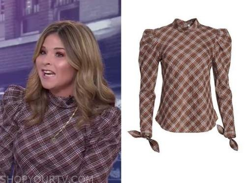 jenna bush hager, the today show, brown plaid mock neck top