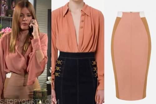 phyllis newman, michelle stafford, the young and the restless, coral blouse, pencil skirt