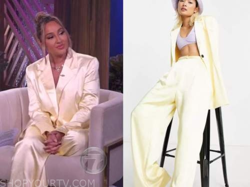 the real, adrienne bailon, yellow satin blazer and pant suit