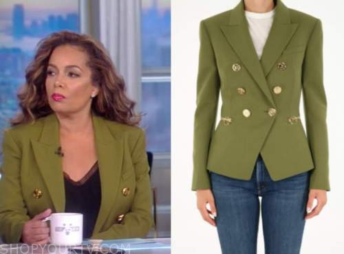 the view, sunny hostin, green double breasted blazer
