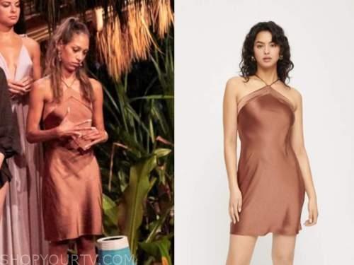 serena pitt, bachelor in paradise, brown satin halter dress