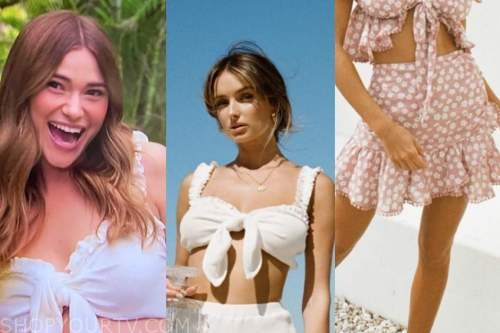 mykenna dorn, bachelor in paradise, white crop top, floral skirt