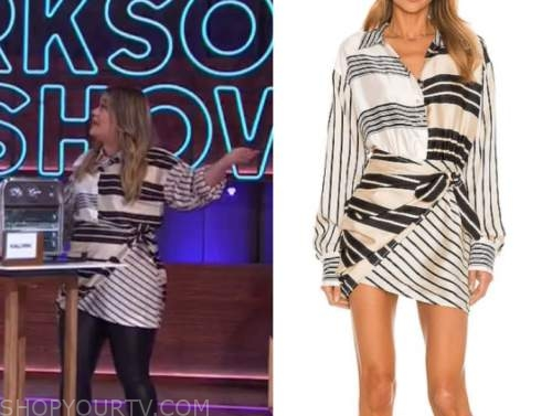 kelly clarkson, the kelly clarkson show, striped wrap shirt dress