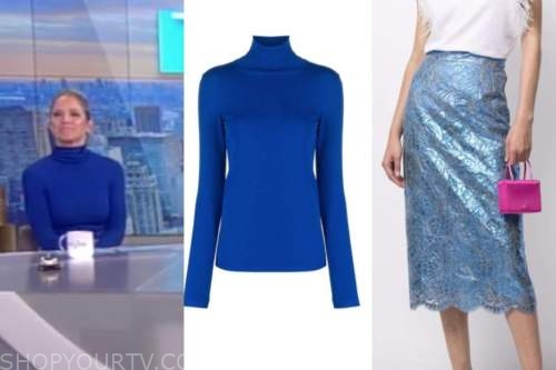 sara haines, the view, blue turtleneck, blue lace skirt