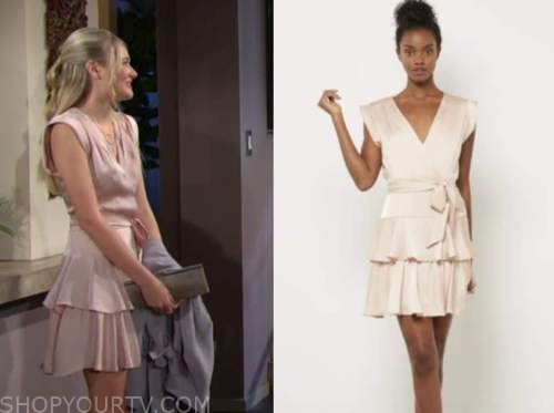 the young and the restless, faith newman, reylynn caster, blush pink ruffle dress