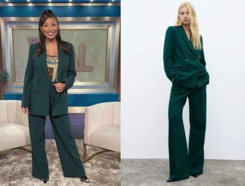 jeannie mai, the real, green double breasted pant suit
