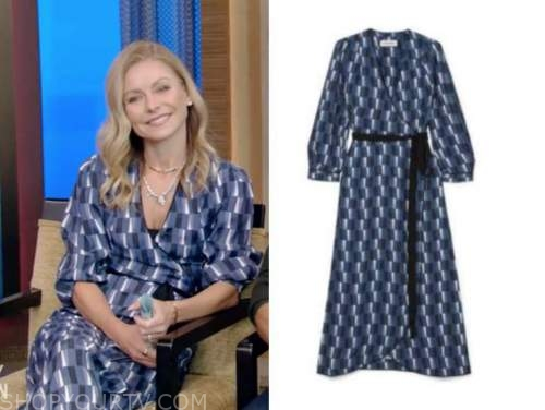 live with kelly and ryan, kelly ripa, blue geometric wrap dress