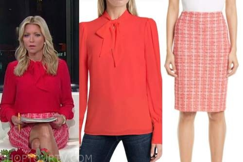 ainsley earhardt, fox and friends, red tie neck blouse, red tweed skirt