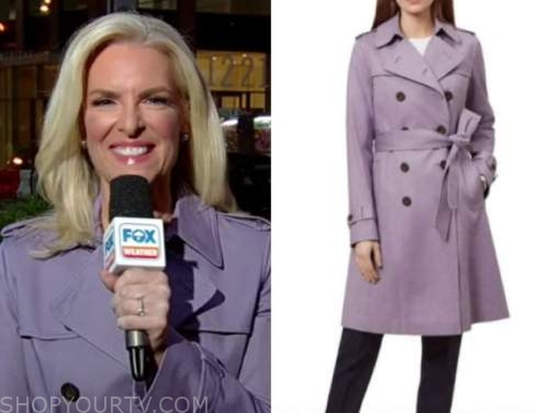 janice dean, fox and friends, purple trench coat
