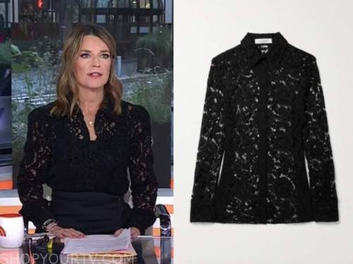 savannah guthrie, the today show, black lace shirt