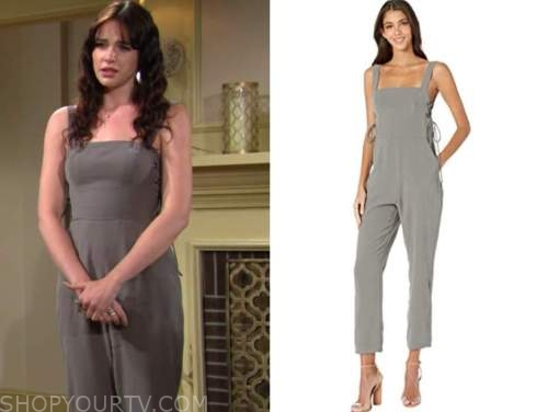 Tessa porter, Cait fairbanks, the young and the restless, grey lace-up jumpsuit