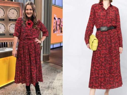 drew barrymore, drew barrymore show, red lip print shirt and skirt