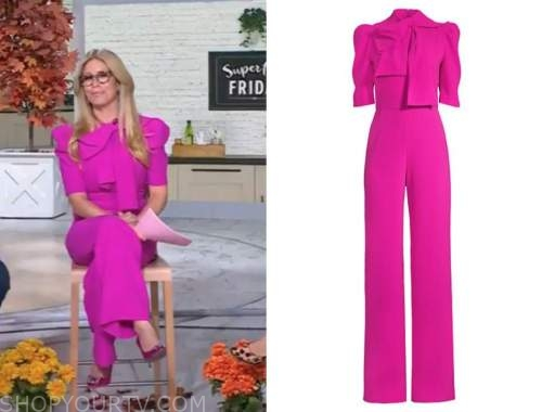 the today show, jill martin, hot pink tie neck jumpsuit