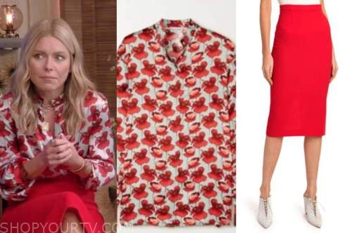 kelly ripa, red pencil skirt, floral blouse, live with kelly and ryan