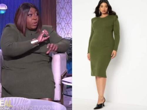 loni love, the real, green sweater dress