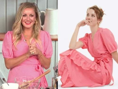 kelsey barnard clark, e! news, daily pop, pink gingham wrap midi dress