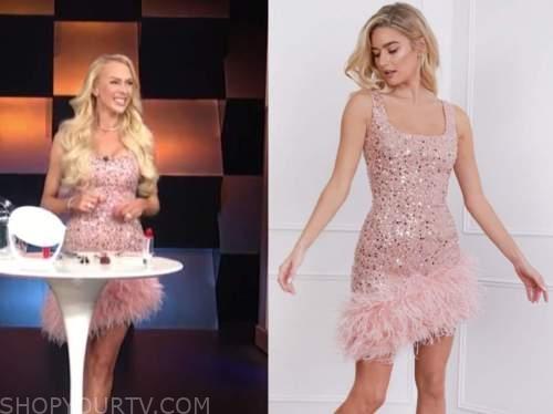 christine quinn, E! news, daily pop, pink sequin feather dress