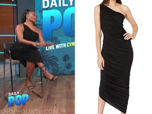 cynthia bailey, E! news, daily pop, black ruched one-shoulder dress