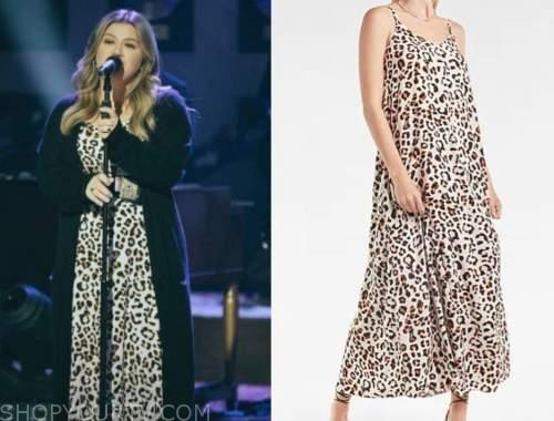 kelly clarkson, the kelly clarkson show, leopard maxi dress