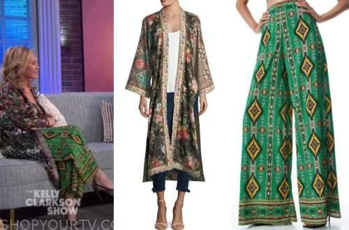 kathy hilton, the kelly clarkson show, green printed pants, floral kimono