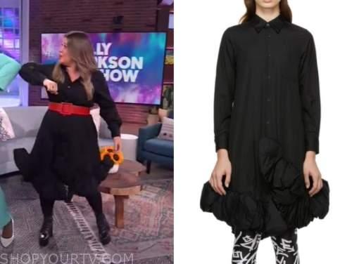 kelly clarkson, the kelly clarkson show, black ruffle trim shirt dress