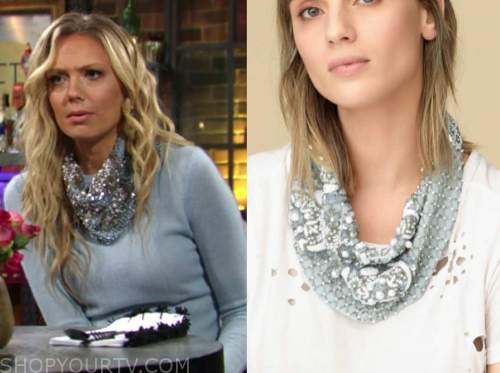 abby newman, melissa ordway, the young and the restless, blue embellished scarf necklace