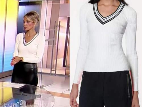carley shimkus, fox and friends, white sweater