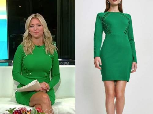 ainsley earhardt, fox and friends, green lace up dress