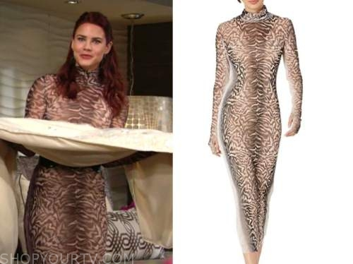 sally spectra, courtney hope, the young and the restless, leopard turtleneck dress