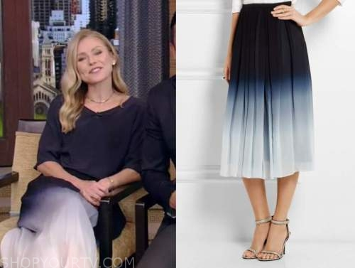 kelly ripa, live with kelly and ryan, blue ombre midi skirt