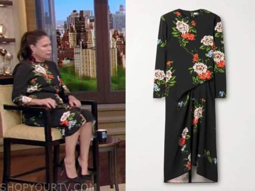 maura tierney, live with kelly and ryan, black floral midi dress