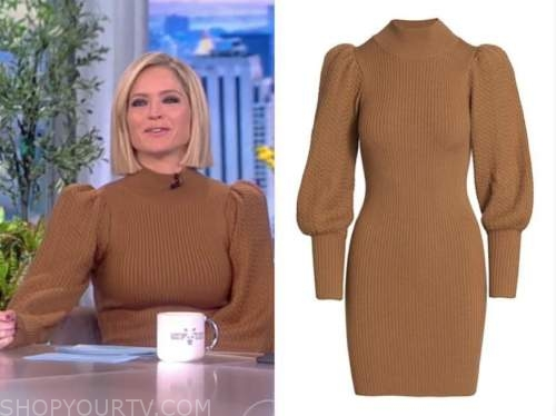sara haines, the view, brown knit sweater dress