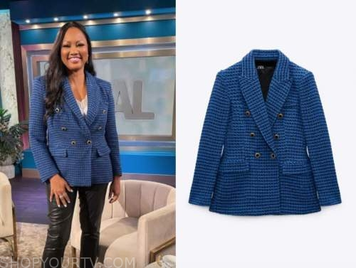 the real, garcelle beauvais, blue tweed jacket