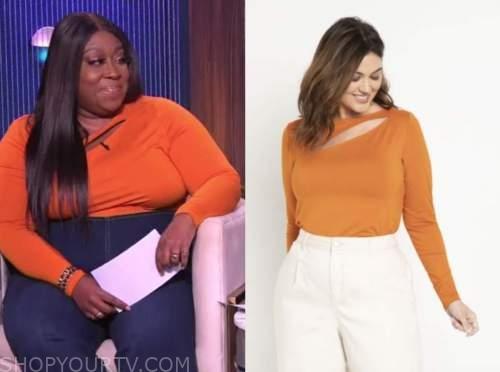 the real, loni love, orange cutout top